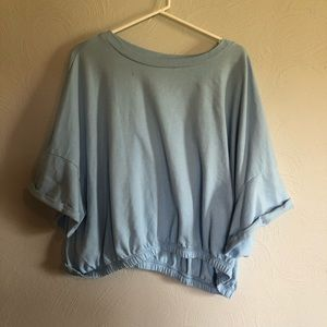 Baby Blue Cropped Shirt - Plus Size